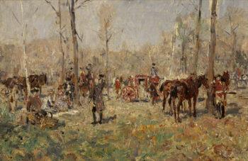 Horsemen in the Forest | Wilhelm Velten | oil painting