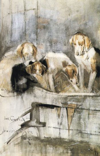 Foxhounds Gingling Gate | Joseph Crawhall | oil painting