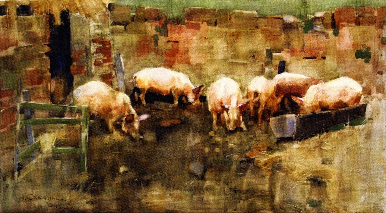pigs at the trough painting joseph crawhall oil paintings