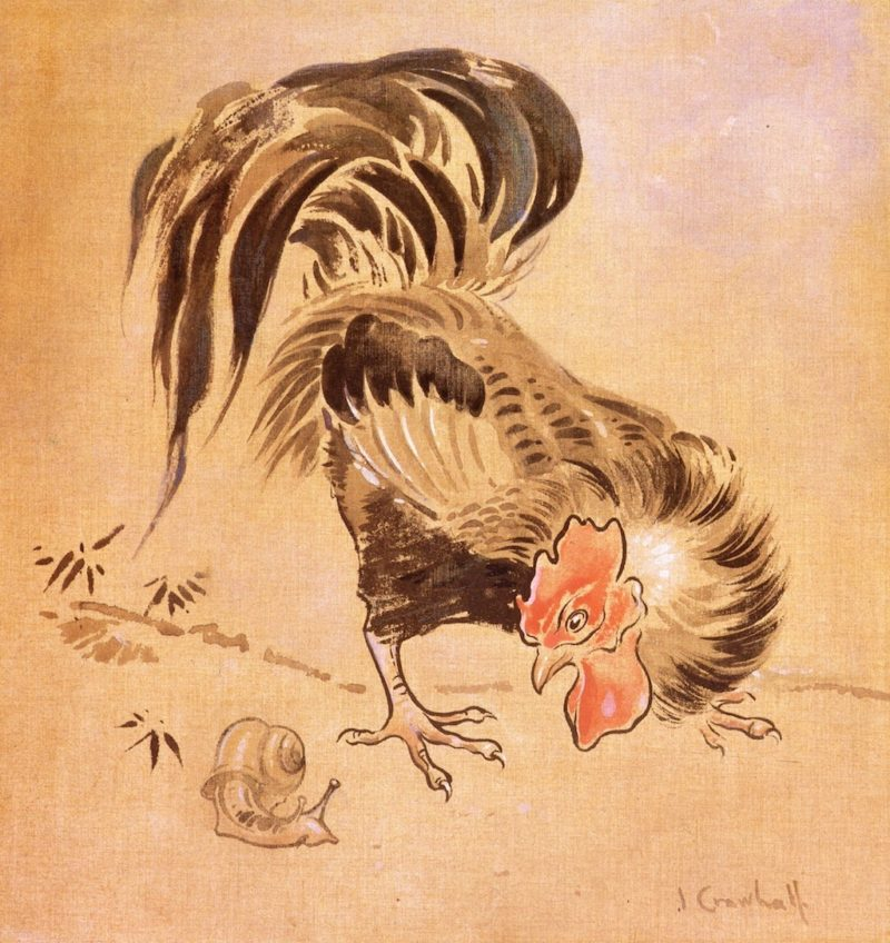 The Spanish Cock and Snail   Joseph Crawhall   oil painting