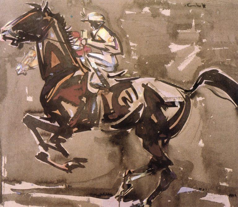 The American Jockey | Joseph Crawhall | oil painting