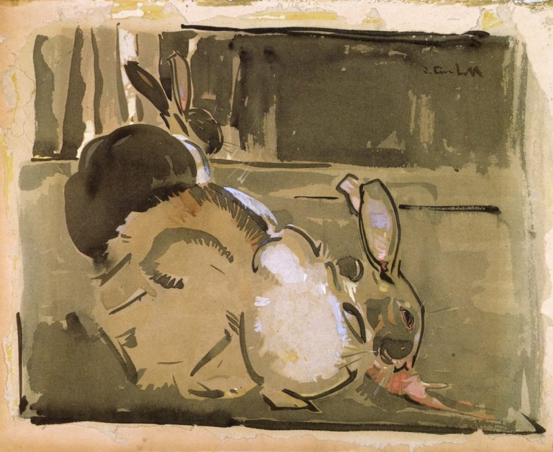 Two Rabbits | Joseph Crawhall | oil painting