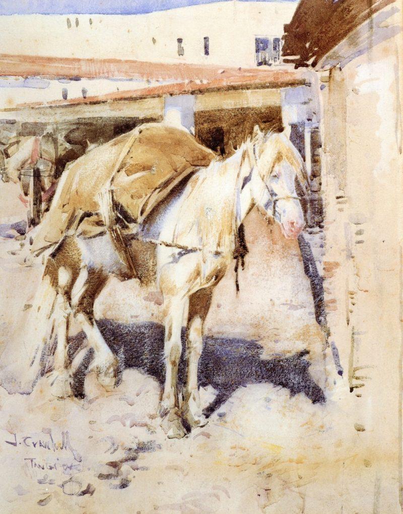 A Moorish Packhorse   Joseph Crawhall   oil painting