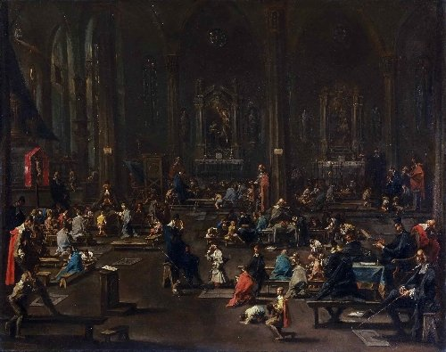 The Catechism in the Cathedral of Milan | Alessandro Magnasco | oil painting