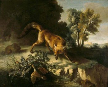 A Fox Stalking a Brace of Partridges | Jean Baptiste Oudry | oil painting
