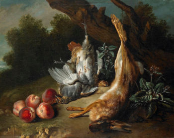Still Life with Dead Game and Peaches in a Landscape | Jean Baptiste Oudry | oil painting