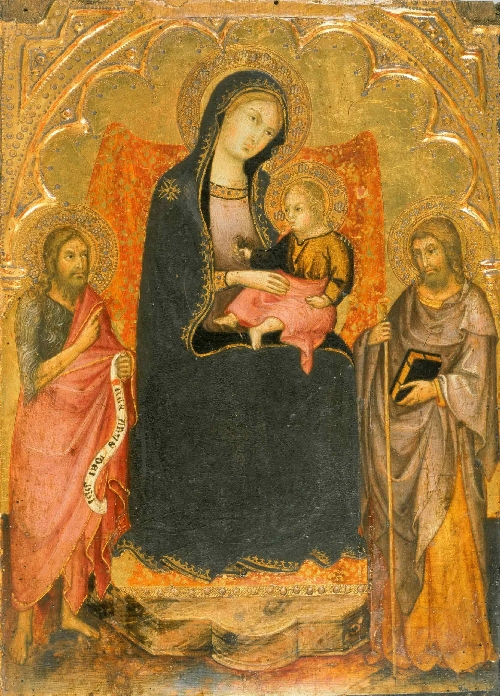 Virgin and Child Enthroned with Saints John the Baptist and James Major | Andrea di Bartolo | oil painting