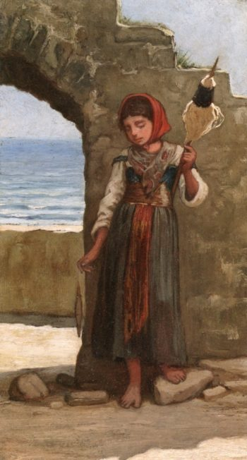 Girl with Distaff | Elihu Vedder | oil painting