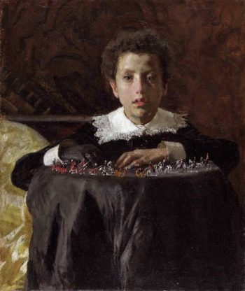 Young Boy with Toy Soldiers | Antonio Mancini | oil painting