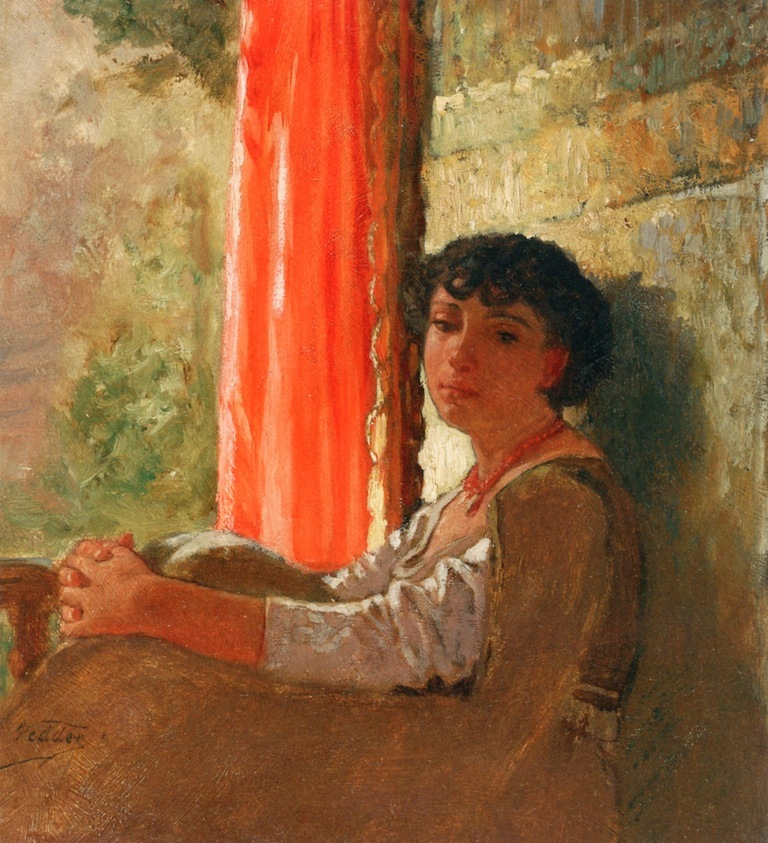 Seated Girl with a Red Curtain | Elihu Vedder | oil painting