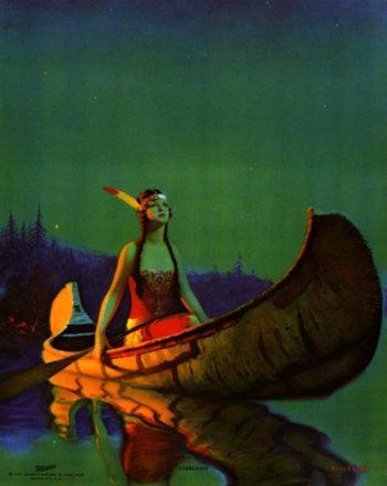 Indian Girl in a Canoe | Edward Mason Eggleston | oil painting