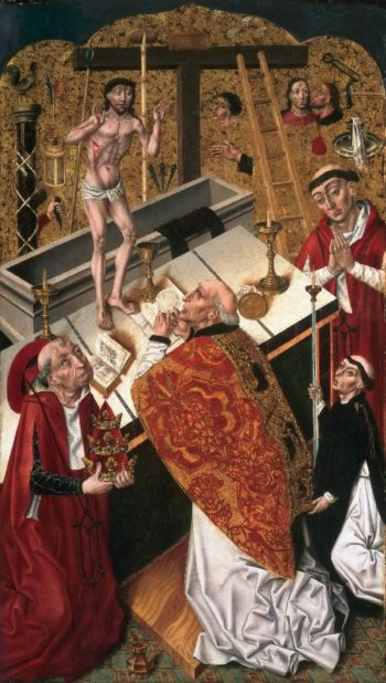 The Mass of Saint Gregory | Attributed to Diego de la Cruz | oil painting