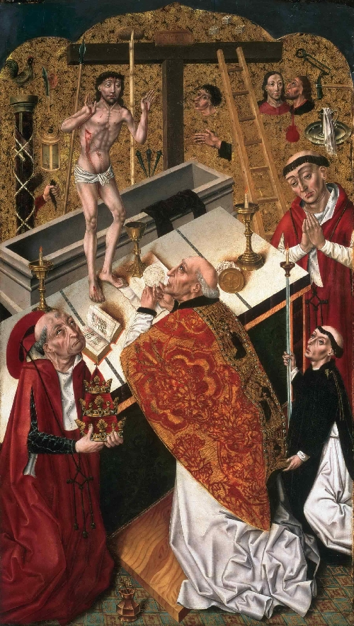 The Mass of Saint Gregory   Attributed to Diego de la Cruz   oil painting