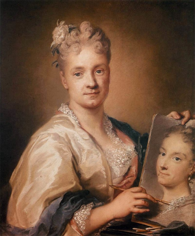 Self portrait Holding a Portrait of Her Sister | Rosalba Carriera | oil painting