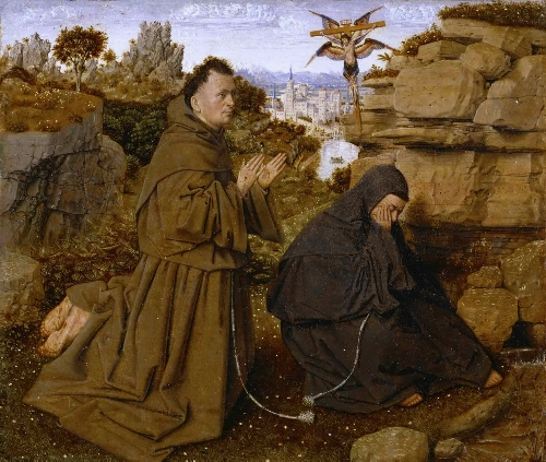 Saint Francis of Assisi Receiving the Stigmata | Attributed to Jan van Eyck | oil painting