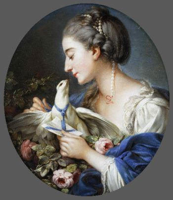 Young Woman Fastening a Letter to the Neck of a Pigeon | Attributed to Johann Christian von Mannlich | oil painting