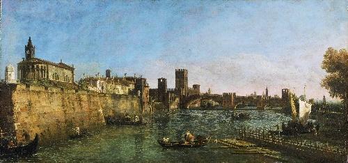 View of Verona with the Castelvecchio and Ponte Scaligero   Bernardo Bellotto   oil painting