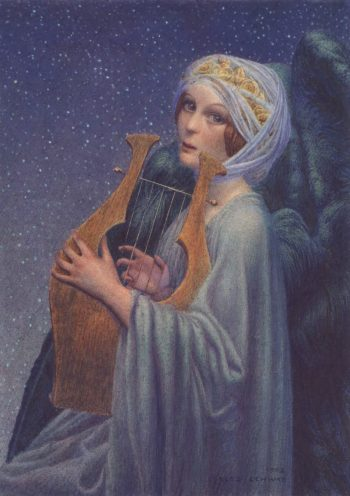 Woman with Lyre | Carlos Schwabe | oil painting