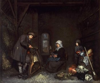 Chaffcutter with His Wife and Child | Caspar Netscher | oil painting