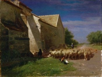 Sheep Leaving a Farmyard | Charles-Emile Jacque | oil painting