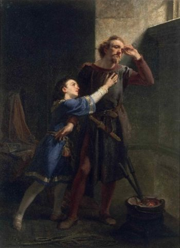 Hubert and Arthur   Christian Schussele   oil painting