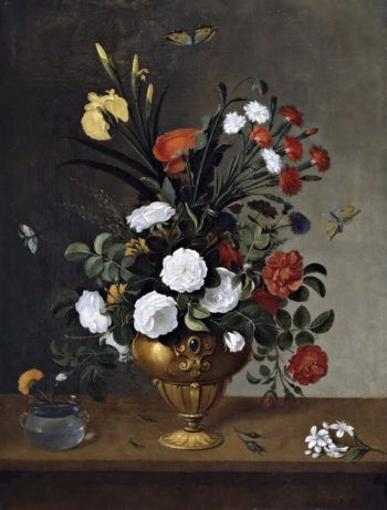 Flowers in a Vase and a Glass Bowl with a Carnation | Pedro de Camprobin | oil painting