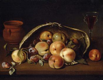 Malocotones Basket and Plums   Pedro de Camprobin   oil painting