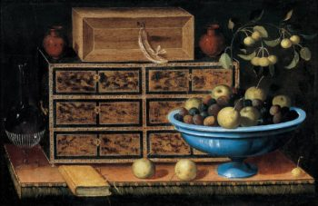 Writing Desk with a small Chest and a Fruit Bowl   Pedro de Camprobin   oil painting