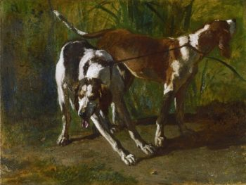 Leashed Hounds | Constant Troyon | oil painting
