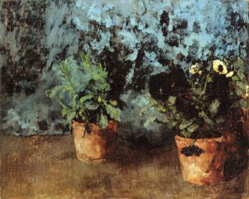 Two Flower Pots with Pansies | Carl Eduard Schuch | oil painting