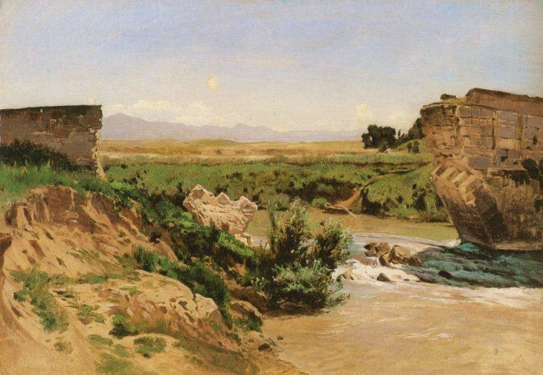 Ruined bridge on a river | Carl Eduard Schuch | oil painting