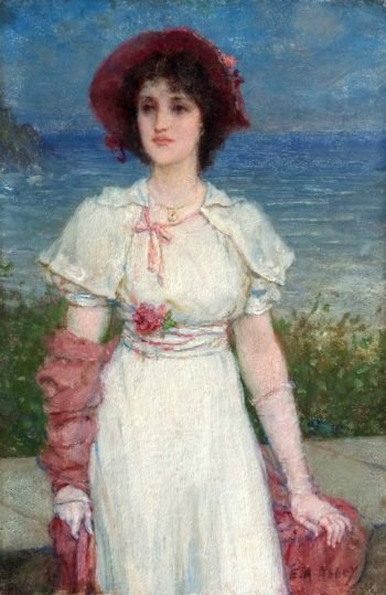 Young Woman in White by the Sea | Edwin Austin Abbey | oil painting