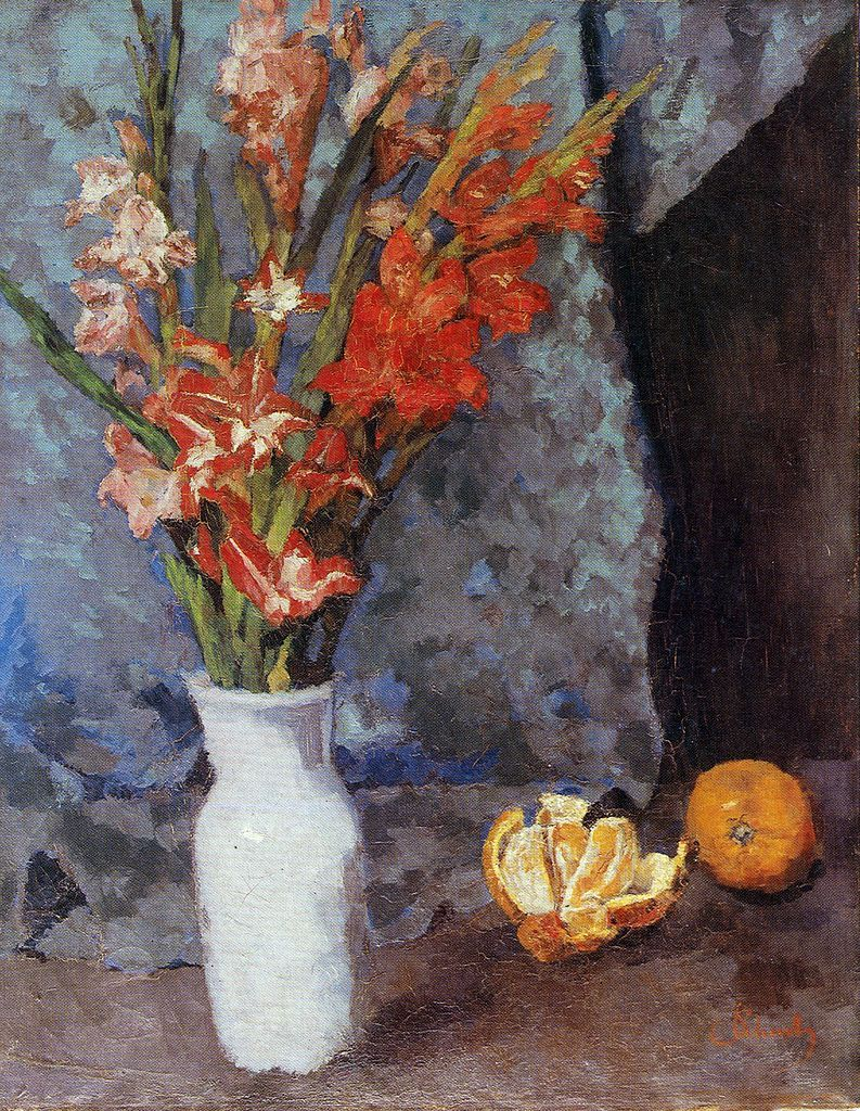 Gladioli and oranges | Carl Eduard Schuch | oil painting