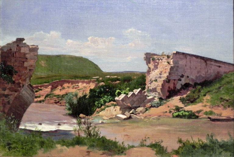 Landscape with Bridge Ruins | Carl Eduard Schuch | oil painting