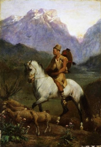 Arabian Shepherd (Shepherd- High Plateau of Kabylia) | Eugene Fromentin | oil painting