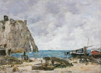 Beach at Etretat | Eugene-Louis Boudin | oil painting