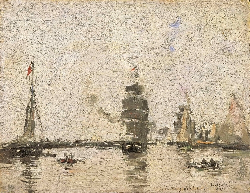 Boats in Trouville Harbor | Eugene-Louis Boudin | oil painting