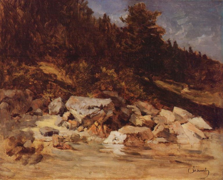 Boulders on the shore of the lake | Carl Eduard Schuch | oil painting