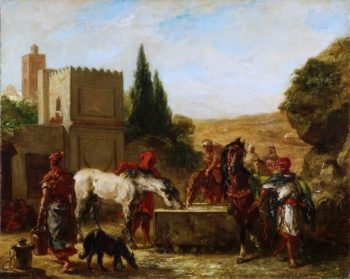 Horses at a Fountain | Ferdinand-Victor-Eugene Delacroix | oil painting