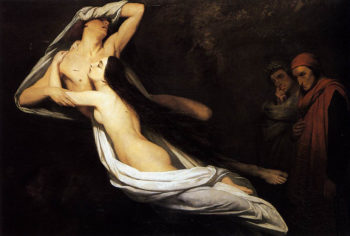 The Ghosts of Paolo and Francesca Appear to Dante and Virgil | Ary Scheffer | oil painting