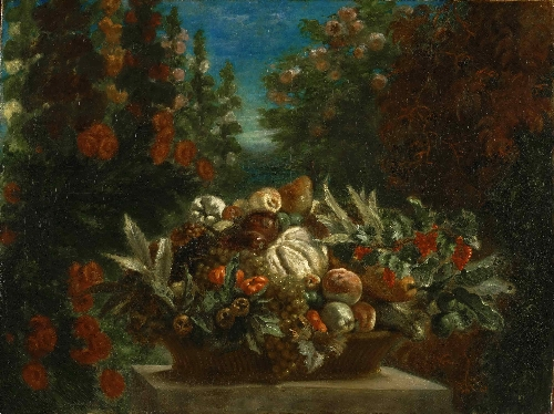 Still Life with Flowers and Fruit | Ferdinand-Victor-Eugene Delacroix | oil painting