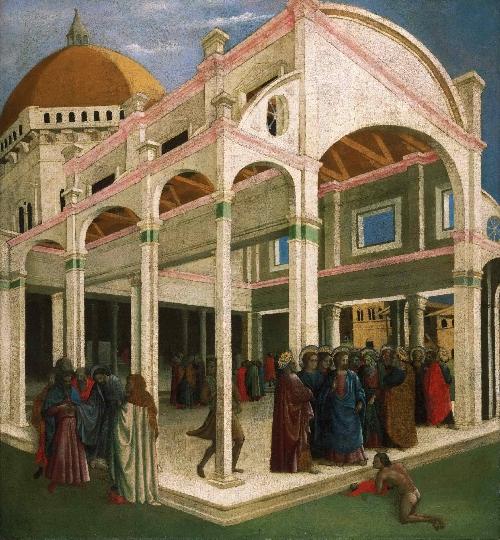 Christ Healing a Lunatic and Judas Receiving Thirty Pieces of Silver | Francesco di Antonio (Francesco di Antonio di Bartolomeo) | oil painting