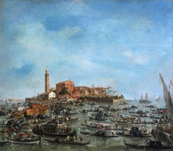 The Meeting of Pope Pius VI and Doge Paolo Renier at San Giorgio in Alga | Francesco Guardi | oil painting