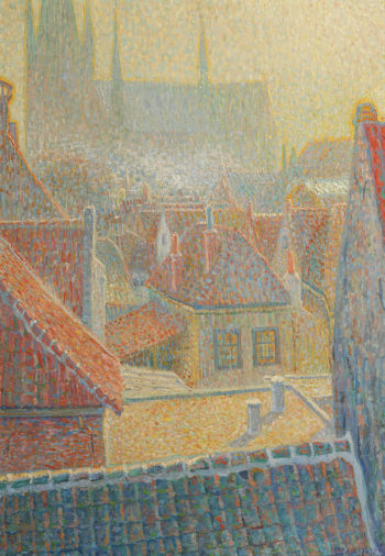 View towards the church in Woerden | Leo Gestel | oil painting