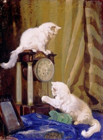 Playtime with Two Cats | Arthur Heyer | oil painting