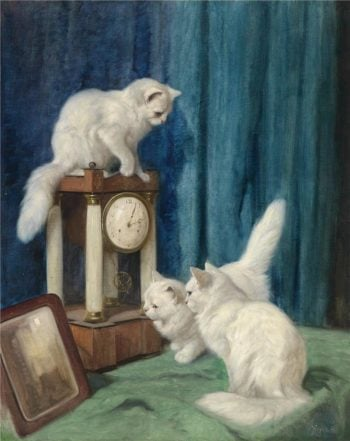Three Curious Cats | Arthur Heyer | oil painting