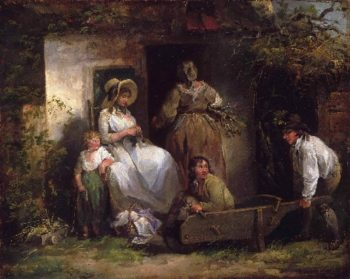 The Happy Cottagers (The Cottage Door) | George Morland | oil painting