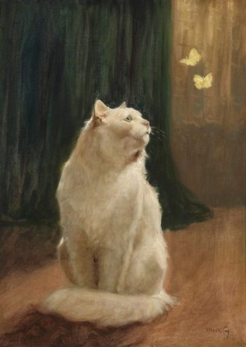 White Cat and Two Brimstone Butterflies | Arthur Heyer | oil painting