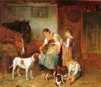 Family in a barn a | Adolf Eberle | oil painting