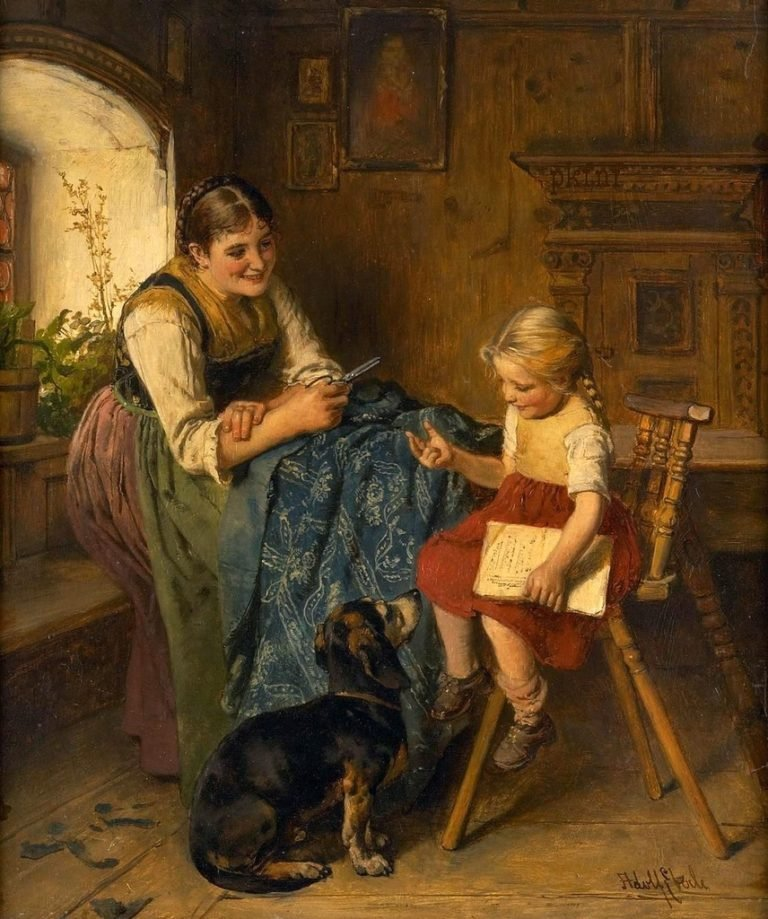 Family scene with young mother child a | Adolf Eberle | oil painting